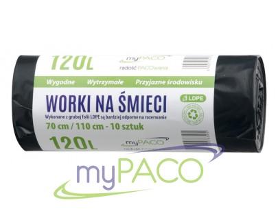 myPACO Worki na śmieci LDPE  120l. R10  MPW120