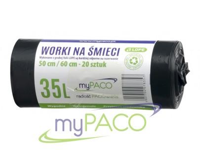 myPACO Worki na śmieci LDPE   35l. R20   MPW35