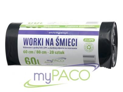 myPACO Worki na śmieci LDPE   60l. R20  MPW60